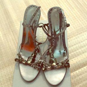 BCBGeneration Silver Strappy Heels Size 10